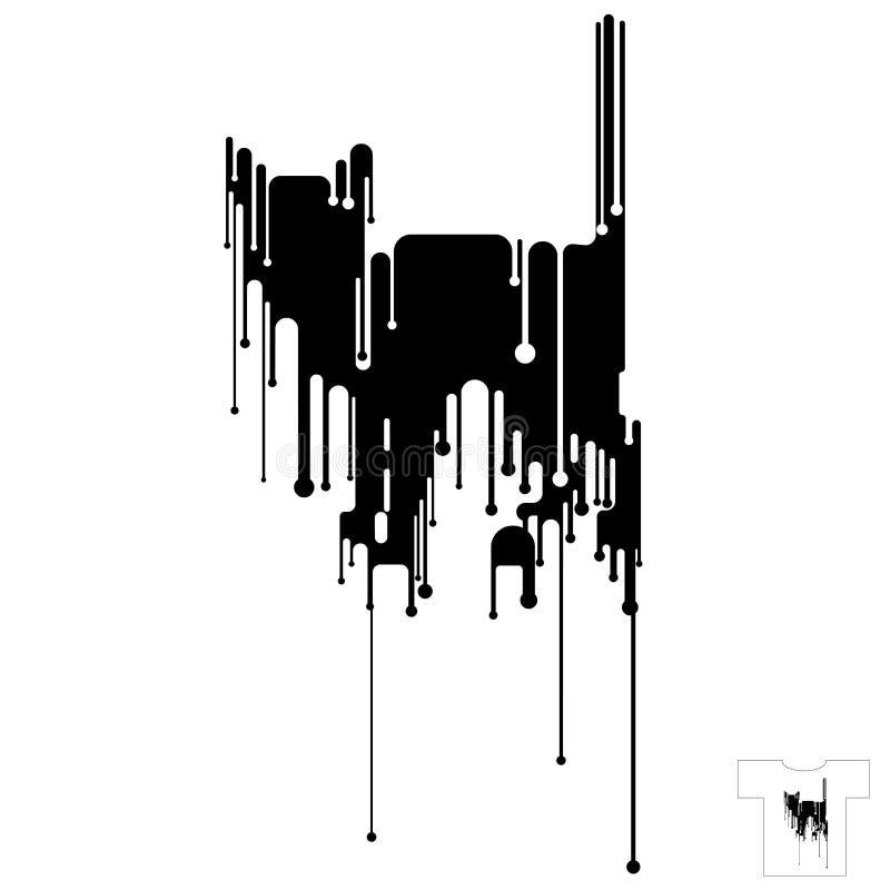 рубашка t конструкции черного кота иллюстрация штока