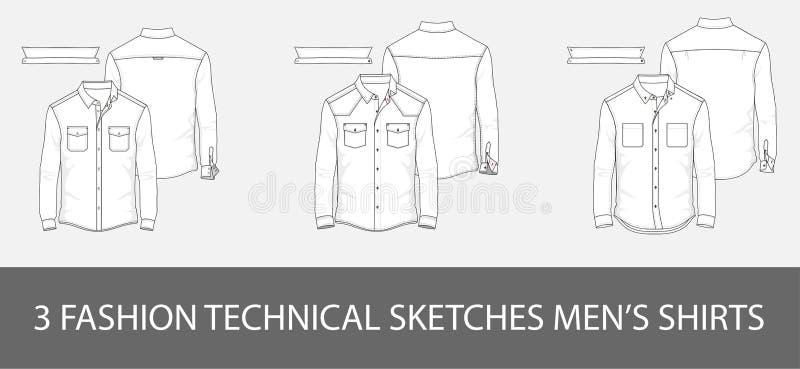 3 рубашки ` s людей эскизов моды технических в векторе иллюстрация штока