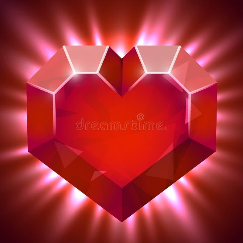 Рубиновый самоцвет в форме сердца с световыми лучами иллюстрация вектора