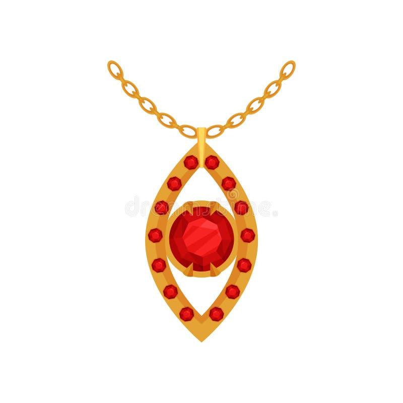 Рубиновый шкентель золота, модная иллюстрация вектора ювелирных изделий на белой предпосылке иллюстрация штока
