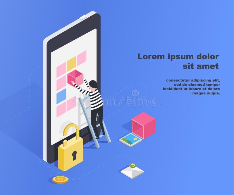 Рубить пользовательскую базу данных smartphone Нестабильное соединение, онлайн афера, вирусы электронной почты, равновеликий плос иллюстрация штока