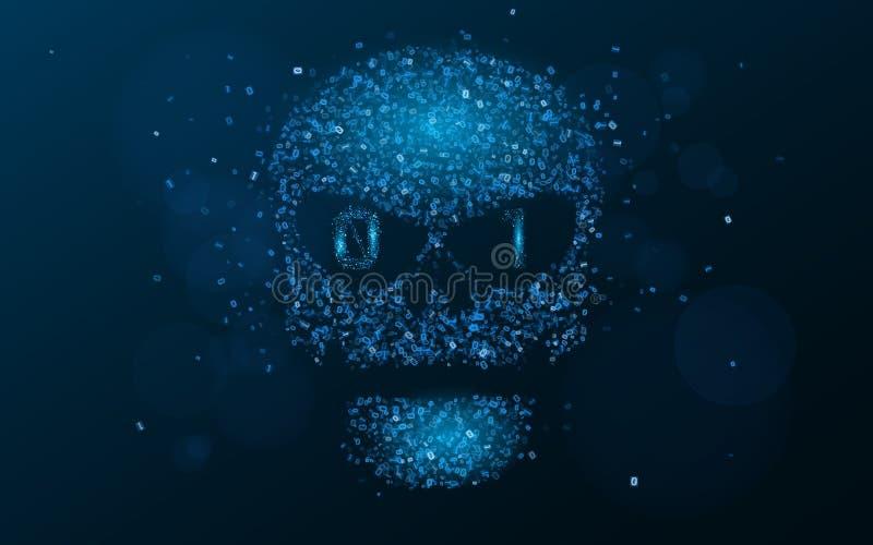 Рубить систему Конспект, светящий череп голубого цвета от бинарного кода Данные под угрозой Программирование в дизайне Vec иллюстрация штока