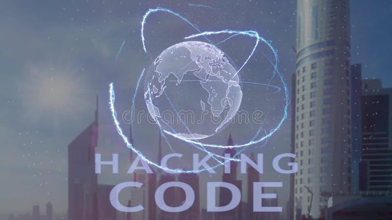 Рубить текст кода с hologram 3d земли планеты против фона современной метрополии иллюстрация вектора