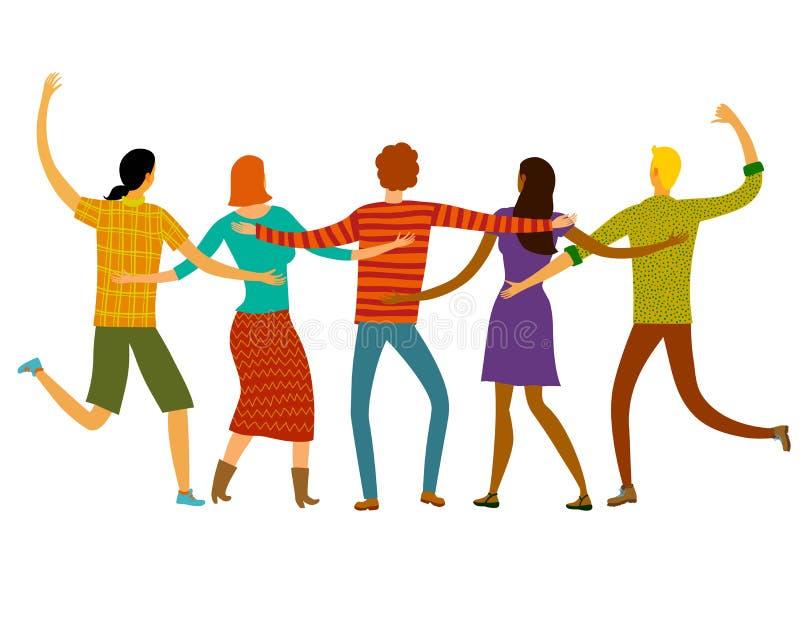 друзья счастливые совместно иллюстрация вектора