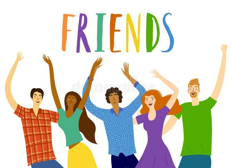 друзья счастливые совместно иллюстрация штока