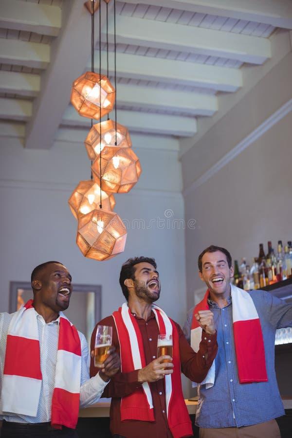 3 друз веселя и выпивая пиво пока наблюдающ спичку стоковое изображение