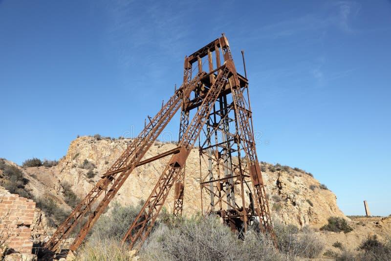 Руина Industiral старой шахты стоковое фото rf