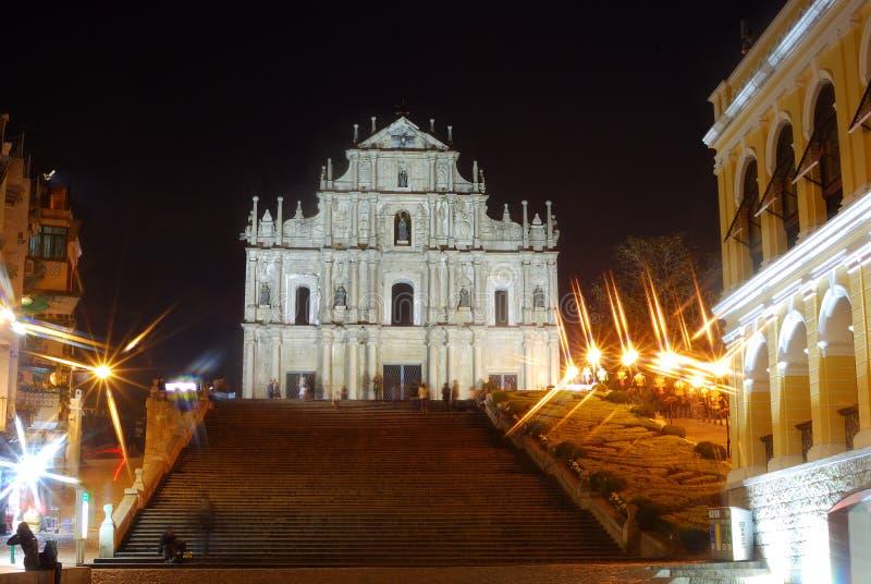 Руина Sao Paulo к ноча, Макао стоковые фотографии rf