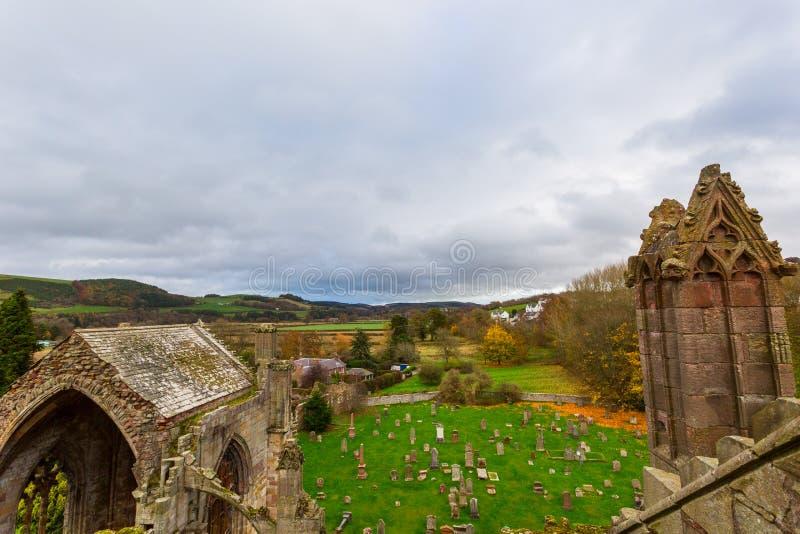 Руины аббатства Мелроуза в зоне границ Scottish в Scotlan стоковое изображение