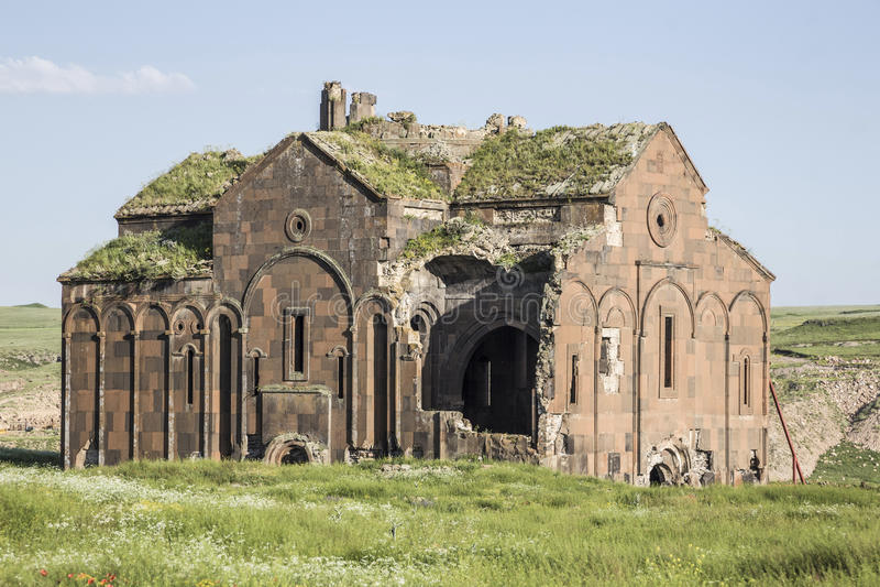 Руины ани в городе Kars Турции около турецкого армянского borde стоковые фото