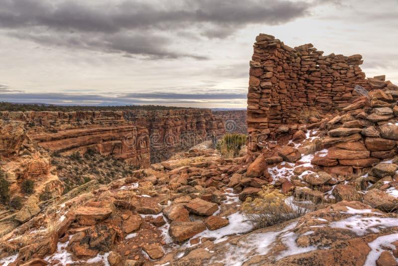 Руины башни на каньоне осла стоковые фотографии rf