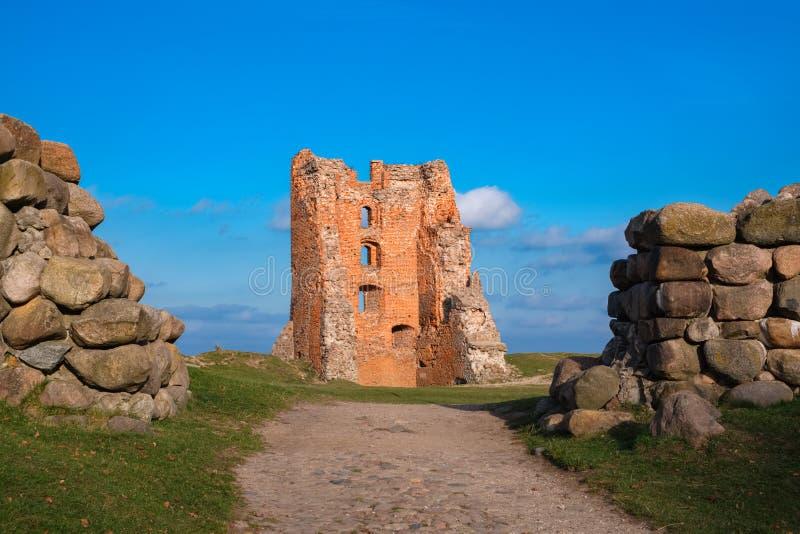 Руины башни Щитовка и замка Миндовг, валунные заграждения на переднем плане Новогрудок стоковые фотографии rf