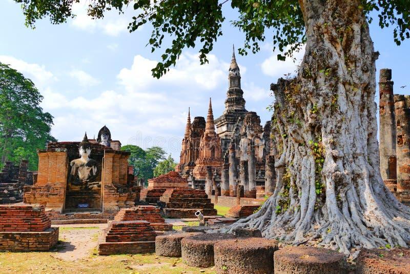 Руины буддийского виска сценарного взгляда старые и статуя Будды Wat Mahathat в парке Sukhothai историческом, Таиланда стоковые изображения
