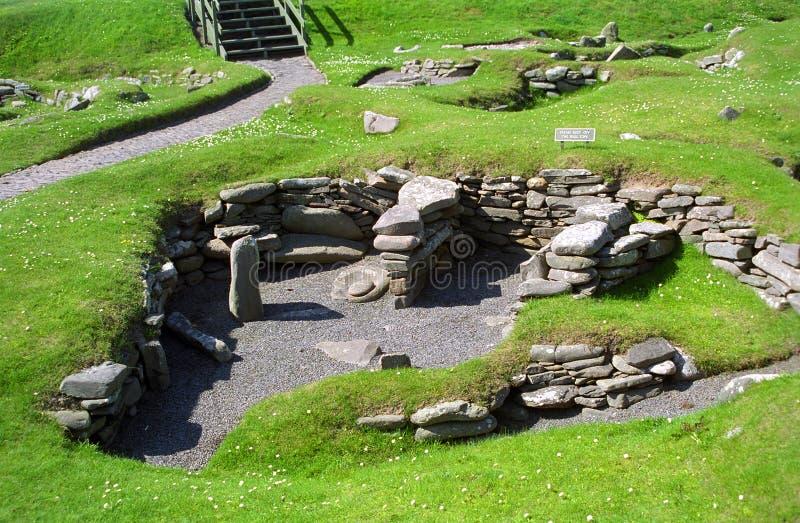 Руины Викинга, Jarslhof, Shetland, Шотландия стоковые фото