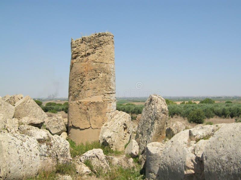 Руины виска древнегреческия в Selinunte стоковое изображение