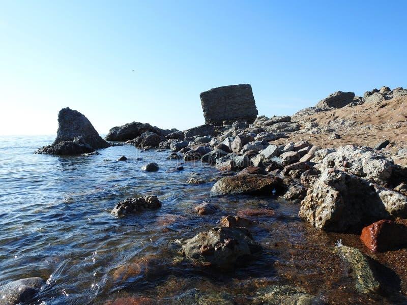 Руины войны на побережье Балтийского моря, Латвии стоковая фотография rf