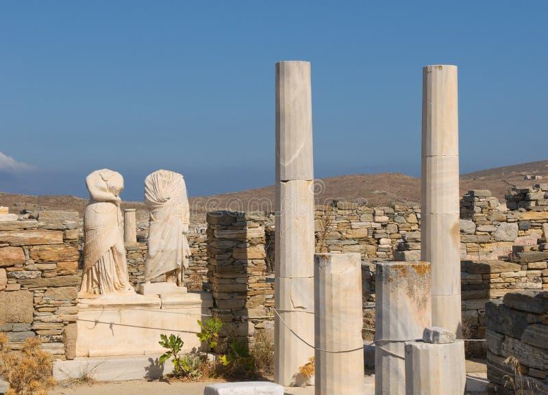 Руины дома Cleopatra, Delos, Греции стоковые фото