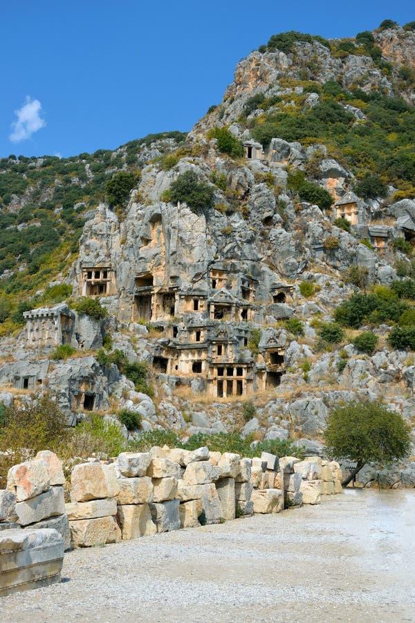 Руины древнего города Миры столицы королевства Lycian стоковое фото