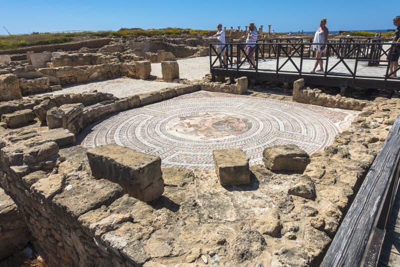 Руины древнегреческия и римского города Paphos Известный, стоковые изображения