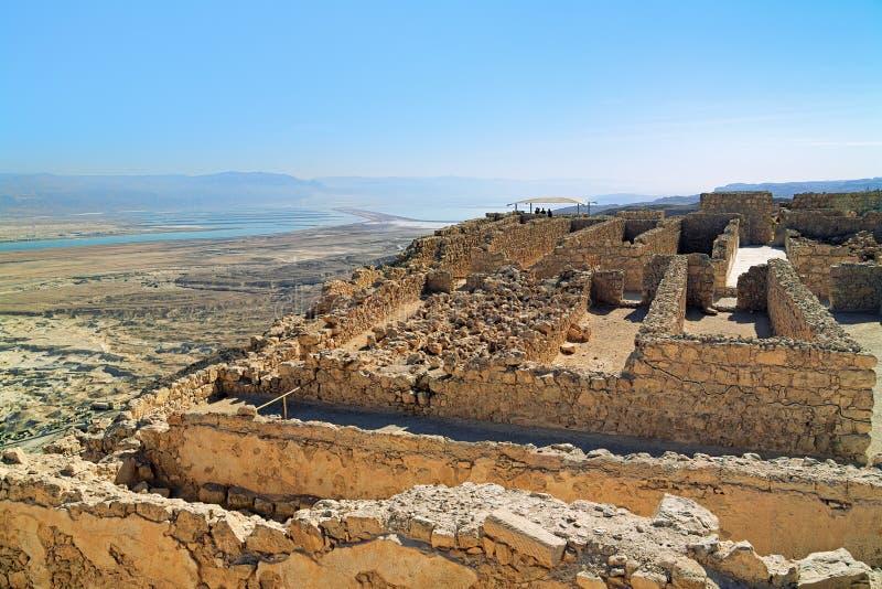 Руины замка в крепости Masada, Израиля Herods стоковые изображения