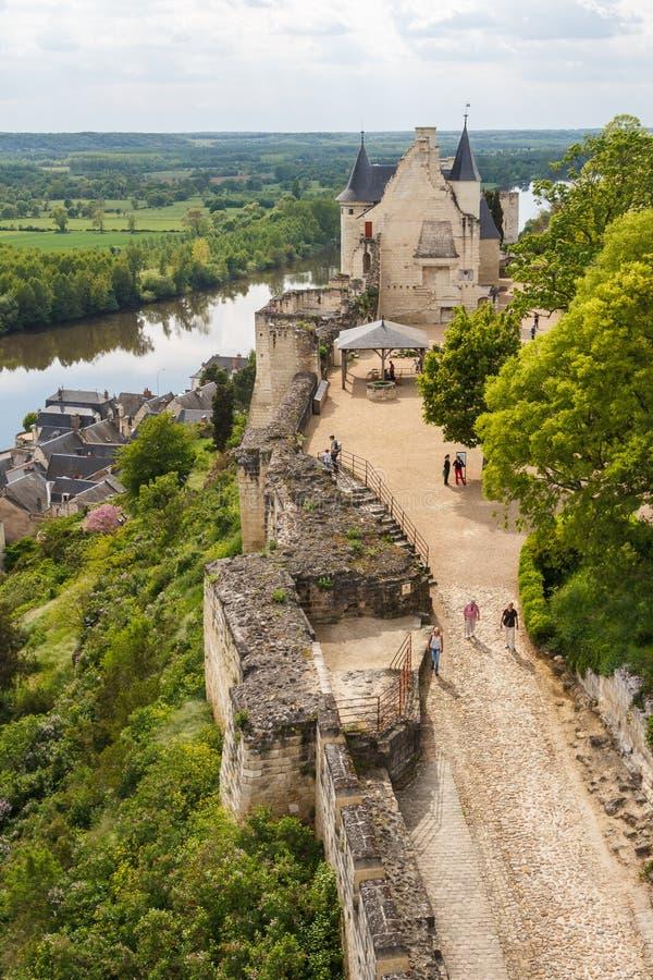 Руины замка Chinon стоковые фотографии rf