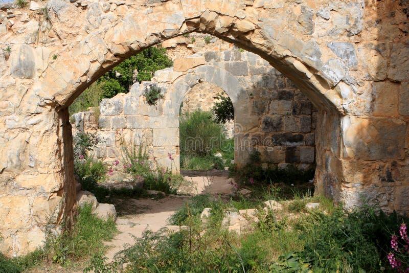 Руины замка Monfort, Израиля стоковая фотография