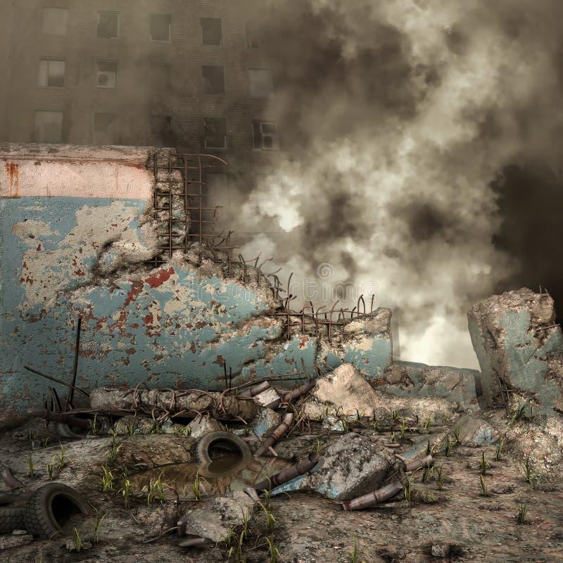 Руины и щебень города бесплатная иллюстрация