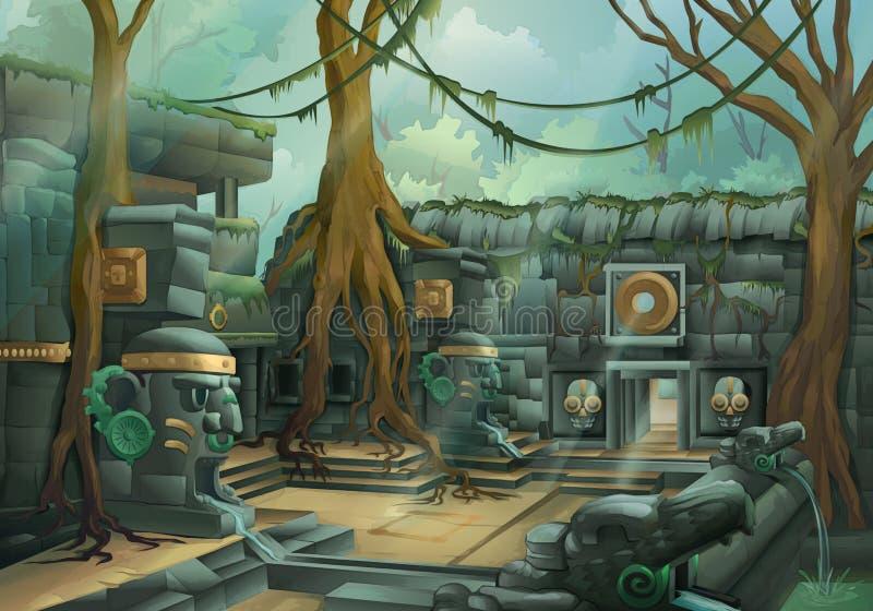 Руины, иллюстрация джунглей иллюстрация штока