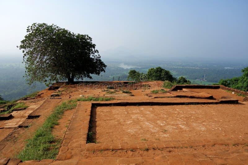 Руины крепости поверх утеса Sigiriya стоковые изображения rf