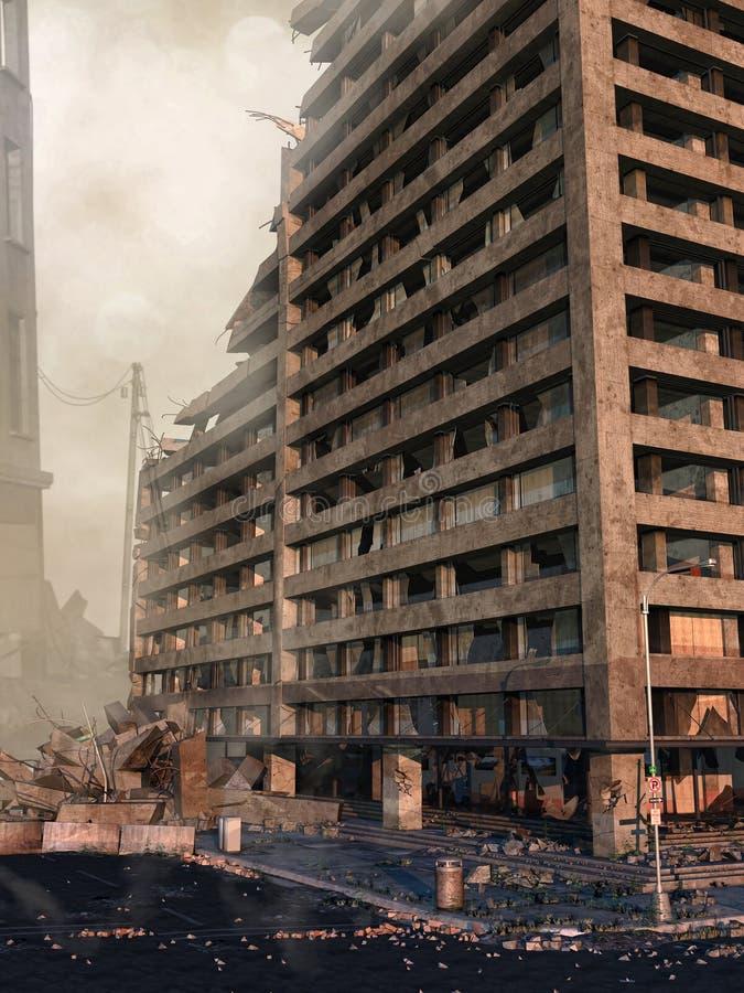 Руины небоскреба иллюстрация штока