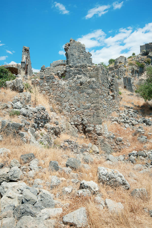 Download Руины острова St Nicholas, Fethiye, Турция Стоковое Изображение - изображение насчитывающей оставать, облако: 37930377
