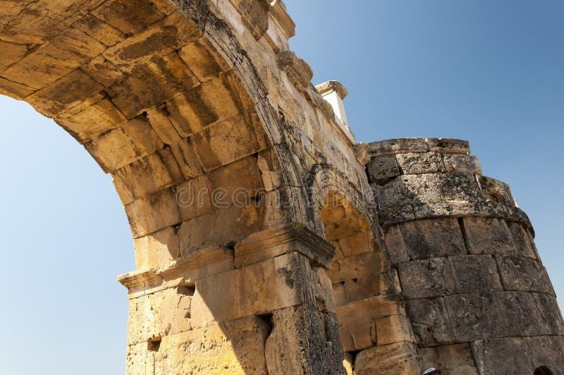 Руины древнего города Hierapolis, детали, Турции стоковая фотография