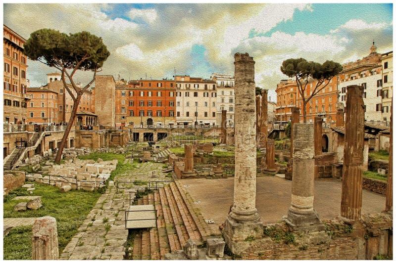 Руины Рима старых конструкций - изображения в ретро стиле иллюстрация вектора