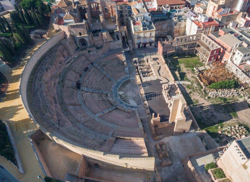 Руины римского амфитеатра в испанском языке Cartagena стоковые фото