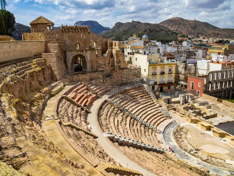 Руины римского амфитеатра в Cartagena, Испании стоковое фото rf