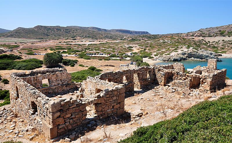 Руины рокируют, остров Крит, Греция, Европа стоковое изображение