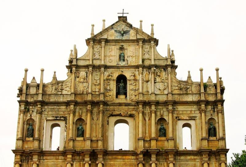 Руины собора St Paul в Макао стоковое фото