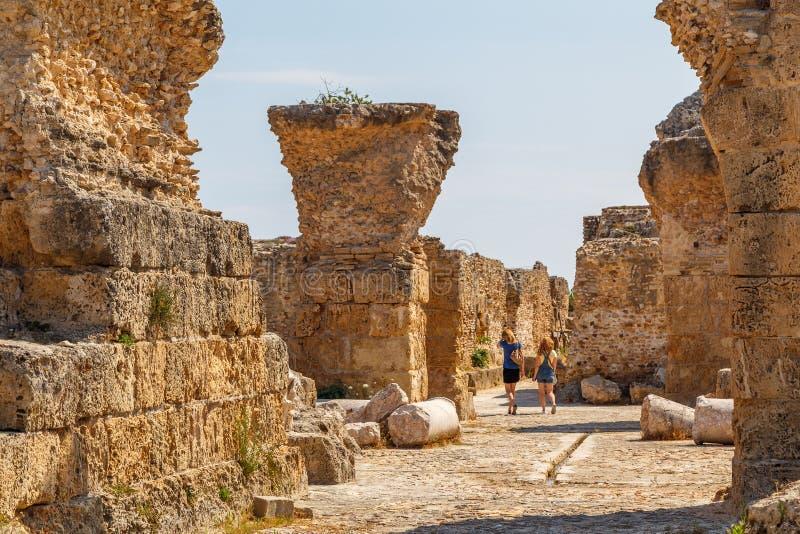 Руины старого города Карфагена, Туниса стоковая фотография rf