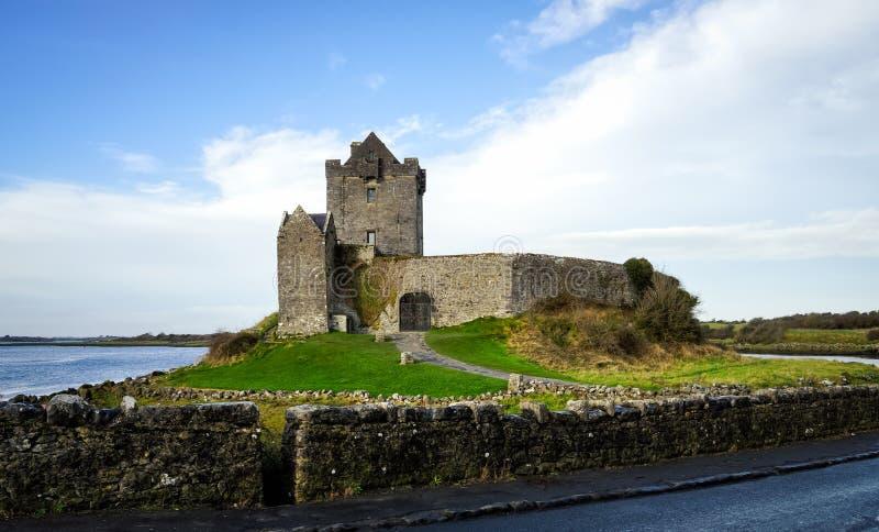Руины старого замка Dunguaire с зеленой травой, потоком и озером, Ирландией стоковое изображение rf