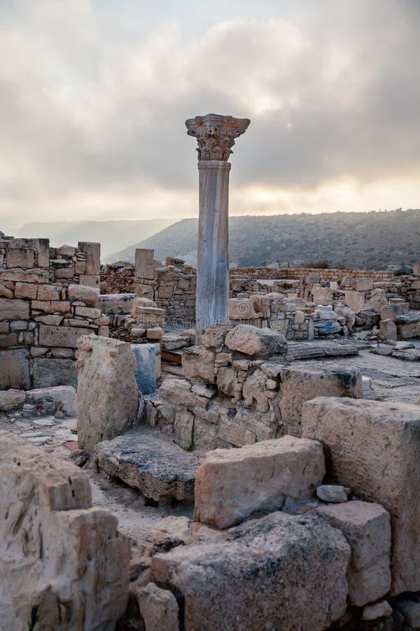 Руины старого римского города кюрия, Kourion, Кипра стоковое фото rf