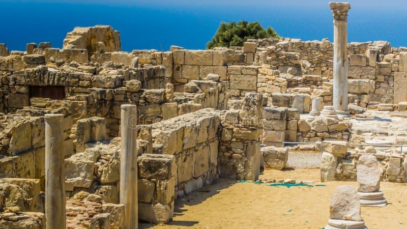 Руины старого Kourion Район Лимасола Кипр, 6-ое августа 2017 стоковые фотографии rf