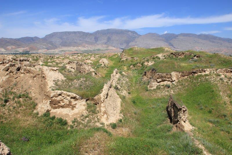 Руины старого Panjekent около современного города Penjikent, Таджикистана стоковая фотография rf