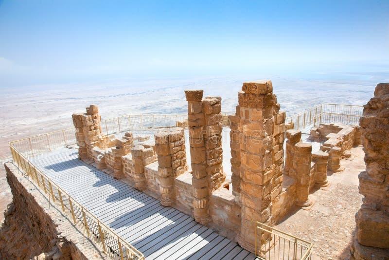 Руины стародедовской крепости Masada, Израиля стоковая фотография rf