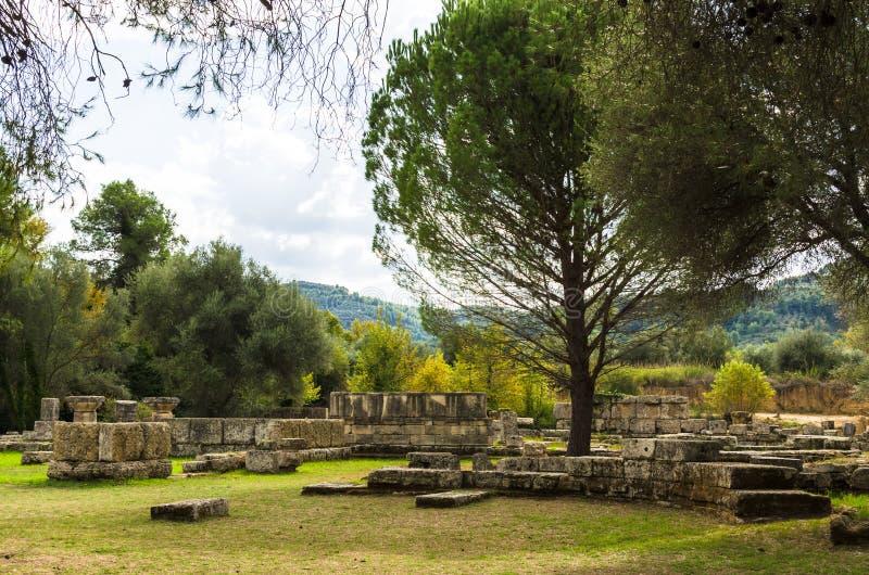 Руины старой Олимпии, Peloponnesus, Греции стоковое изображение