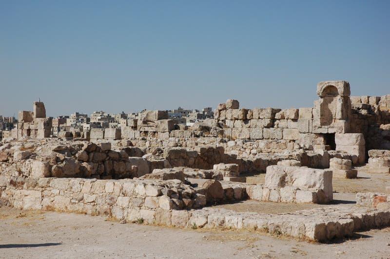 Руины старой цитадели Аммана, Джордана стоковое фото rf