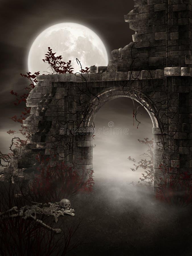 руины темноты иллюстрация вектора