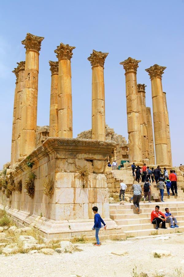 Руины храма Артемиды в Иераше, Иордания стоковая фотография rf