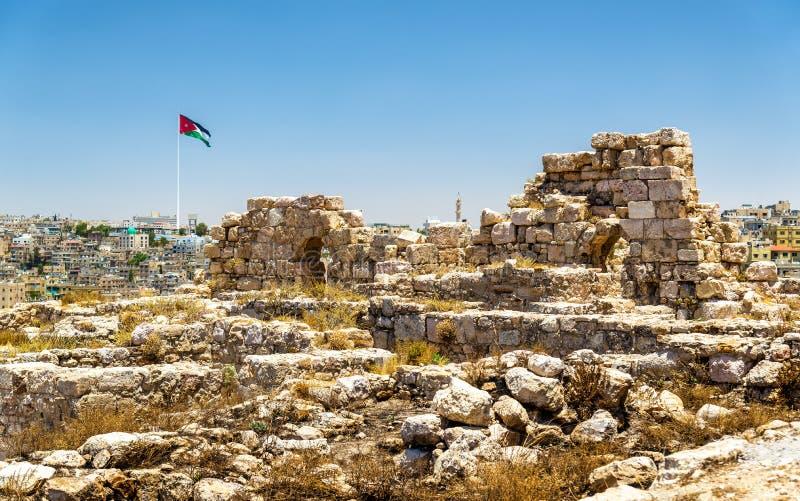 Руины цитадели Аммана стоковое фото rf
