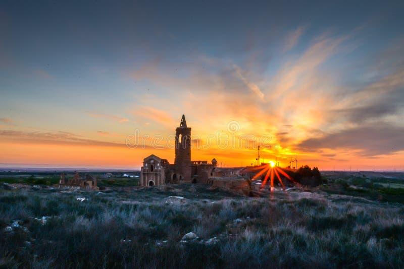 Руины Belchite - Испании стоковые изображения rf