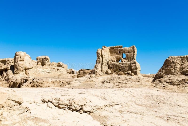 Руины Jiaohe, Turpan, Китай Старая столица королевства Jushi, больше чем 2000 лет стоковое изображение rf